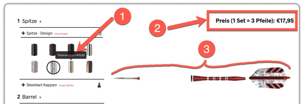Dartpfeil Konfigurator